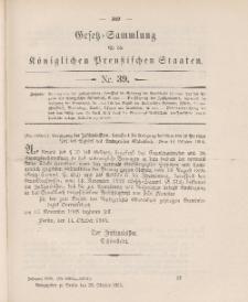 Gesetz-Sammlung für die Königlichen Preussischen Staaten, 23. Oktober 1905, nr. 39.
