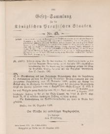 Gesetz-Sammlung für die Königlichen Preussischen Staaten, 29. Dezember 1905, nr. 45.