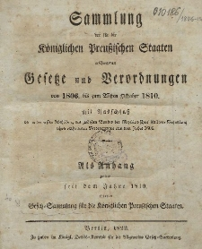 Gesetz-Sammlung für die Königlichen Preussischen Staaten : 1806-1810