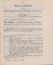 Gesetz-Sammlung für die Königlichen Preussischen Staaten, 17. Mai 1898, nr. 13.