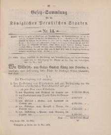 Gesetz-Sammlung für die Königlichen Preussischen Staaten, 24. Mai 1898, nr. 14.
