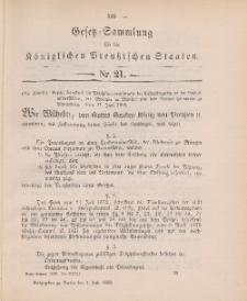 Gesetz-Sammlung für die Königlichen Preussischen Staaten, 4. Juli 1898, nr. 21.