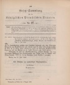 Gesetz-Sammlung für die Königlichen Preussischen Staaten, 2. August 1898, nr. 27.