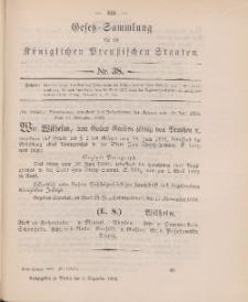 Gesetz-Sammlung für die Königlichen Preussischen Staaten, 9. Dezember 1898, nr. 38.