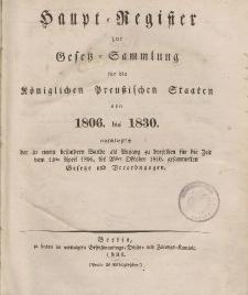 Haupt-Register zur Gesetz-Sammlung für die Königlichen Preussischen Staaten