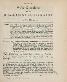 Gesetz-Sammlung für die Königlichen Preussischen Staaten, 18. April 1895, nr. 13.