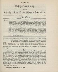 Gesetz-Sammlung für die Königlichen Preussischen Staaten, 30. Juli 1895, nr. 27.