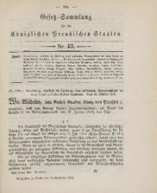 Gesetz-Sammlung für die Königlichen Preussischen Staaten, 23. November 1895, nr. 43.