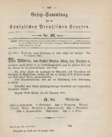 Gesetz-Sammlung für die Königlichen Preussischen Staaten, 28. Dezember 1895, nr. 46.