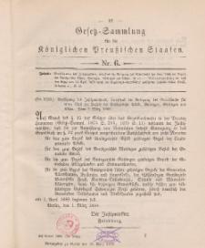 Gesetz-Sammlung für die Königlichen Preussischen Staaten, 10. März 1888, nr. 6.