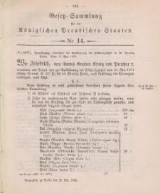 Gesetz-Sammlung für die Königlichen Preussischen Staaten, 28. Mai 1888, nr. 14.