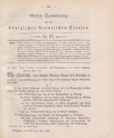 Gesetz-Sammlung für die Königlichen Preussischen Staaten, 7. Juni 1888, nr. 17.