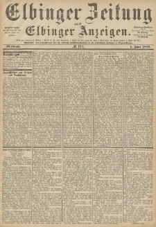 Elbinger Zeitung und Elbinger Anzeigen, Nr. 124 Mittwoch 1. Juni 1887
