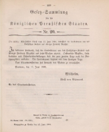 Gesetz-Sammlung für die Königlichen Preussischen Staaten, 16. Juni 1888, nr. 20.