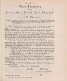 Gesetz-Sammlung für die Königlichen Preussischen Staaten, 27. August 1888, nr. 26.