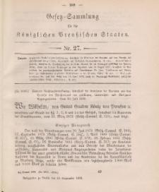 Gesetz-Sammlung für die Königlichen Preussischen Staaten, 10. September 1888, nr. 27.