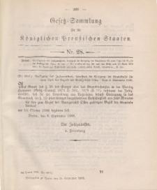 Gesetz-Sammlung für die Königlichen Preussischen Staaten, 28. September 1888, nr. 28.