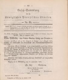 Gesetz-Sammlung für die Königlichen Preussischen Staaten, 21. Oktober 1888, nr. 31.