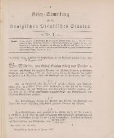 Gesetz-Sammlung für die Königlichen Preussischen Staaten, 6. Januar 1897, nr. 1.