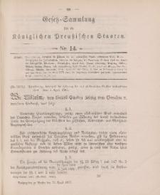 Gesetz-Sammlung für die Königlichen Preussischen Staaten, 22. April 1897, nr. 14.