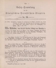 Gesetz-Sammlung für die Königlichen Preussischen Staaten, 1. Juni 1897, nr. 19.
