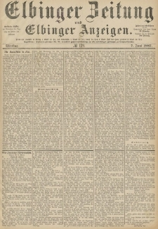 Elbinger Zeitung und Elbinger Anzeigen, Nr. 129 Dienstag 7. Juni 1887