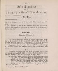 Gesetz-Sammlung für die Königlichen Preussischen Staaten, 26. August 1897, nr. 36.