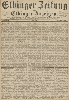 Elbinger Zeitung und Elbinger Anzeigen, Nr. 130 Mittwoch 8. Juni 1887