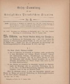 Gesetz-Sammlung für die Königlichen Preussischen Staaten, 22. Januar 1884, nr. 2.