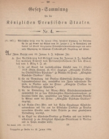 Gesetz-Sammlung für die Königlichen Preussischen Staaten, 29. Januar 1884, nr. 4.