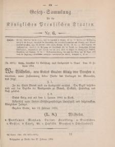Gesetz-Sammlung für die Königlichen Preussischen Staaten, 27. Februar 1884, nr. 6.