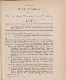 Gesetz-Sammlung für die Königlichen Preussischen Staaten, 16. März 1884, nr. 9.