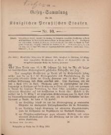 Gesetz-Sammlung für die Königlichen Preussischen Staaten, 19. März 1884, nr. 10.