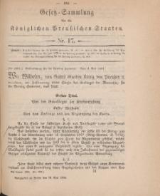 Gesetz-Sammlung für die Königlichen Preussischen Staaten, 26. Mai 1884, nr. 17.