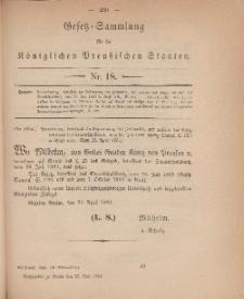 Gesetz-Sammlung für die Königlichen Preussischen Staaten, 26. Mai 1884, nr. 18.