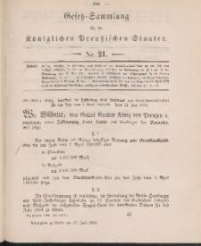 Gesetz-Sammlung für die Königlichen Preussischen Staaten, 27. Juni 1884, nr. 21.