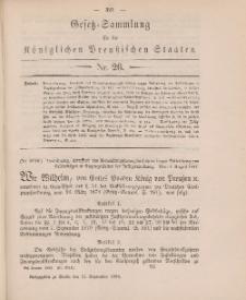 Gesetz-Sammlung für die Königlichen Preussischen Staaten, 15. September 1884, nr. 26.