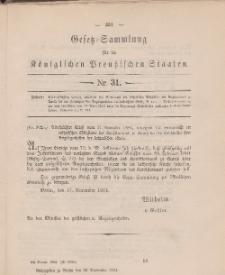Gesetz-Sammlung für die Königlichen Preussischen Staaten, 28. November 1884, nr. 31.