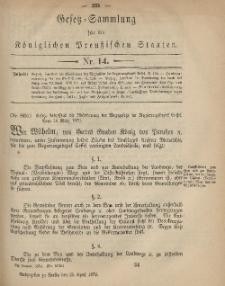 Gesetz-Sammlung für die Königlichen Preussischen Staaten, 25. April 1879, nr. 14.