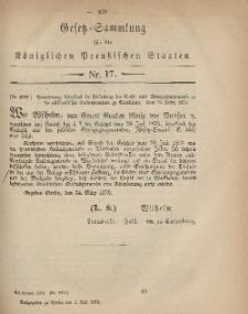 Gesetz-Sammlung für die Königlichen Preussischen Staaten, 1. Mai 1879, nr. 17.