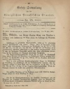 Gesetz-Sammlung für die Königlichen Preussischen Staaten, 3. Mai 1879, nr. 18.