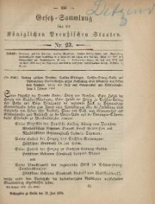 Gesetz-Sammlung für die Königlichen Preussischen Staaten, 12. Juni 1879, nr. 23.