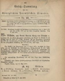 Gesetz-Sammlung für die Königlichen Preussischen Staaten, 17. Juni 1879, nr. 24.