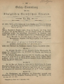Gesetz-Sammlung für die Königlichen Preussischen Staaten, 1. September 1879, nr. 35.
