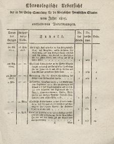 Gesetz-Sammlung für die Königlichen Preussischen Staaten (Chronologische Uebersicht), 1815