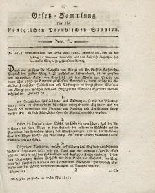 Gesetz-Sammlung für die Königlichen Preussischen Staaten, 20. Mai 1815, nr. 6.