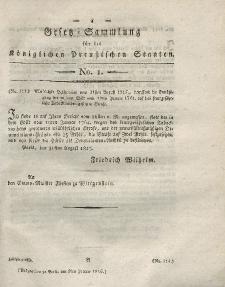 Gesetz-Sammlung für die Königlichen Preussischen Staaten, 9. Januar 1816, nr. 1.
