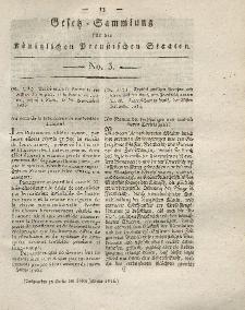 Gesetz-Sammlung für die Königlichen Preussischen Staaten, 18. Januar 1816, nr. 3.