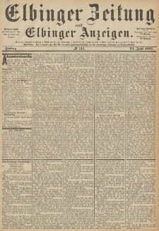 Elbinger Zeitung und Elbinger Anzeigen, Nr. 144 Freitag 24. Juni 1887