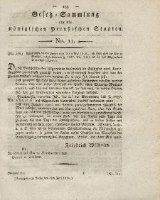 Gesetz-Sammlung für die Königlichen Preussischen Staaten, 8. Juni 1816, nr. 11.
